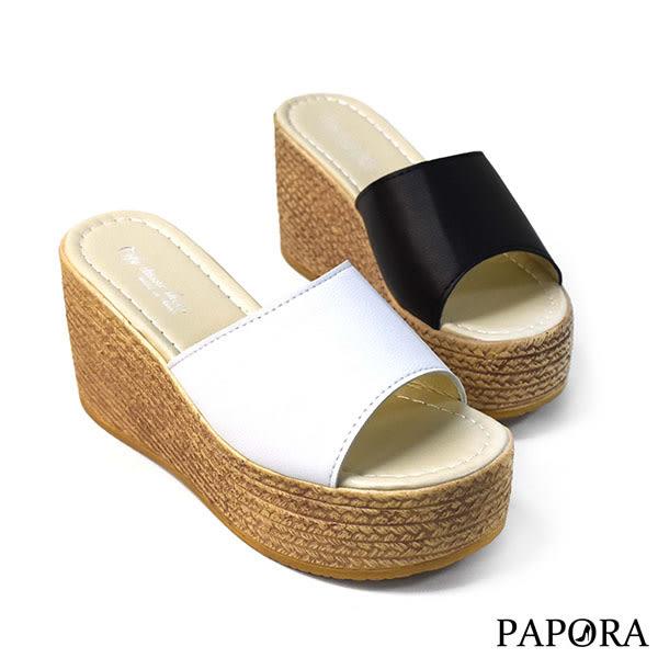 PAPORA麻繩楔型厚底拖鞋KQ2019黑/白