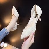 細高跟鞋 2021新款百搭時尚仙女風法式少女鞋子尖頭淺口職業單鞋【快速出貨八折搶購】