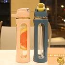 帶吸管簡約學生便攜玻璃瓶大容量玻璃杯【小獅子】