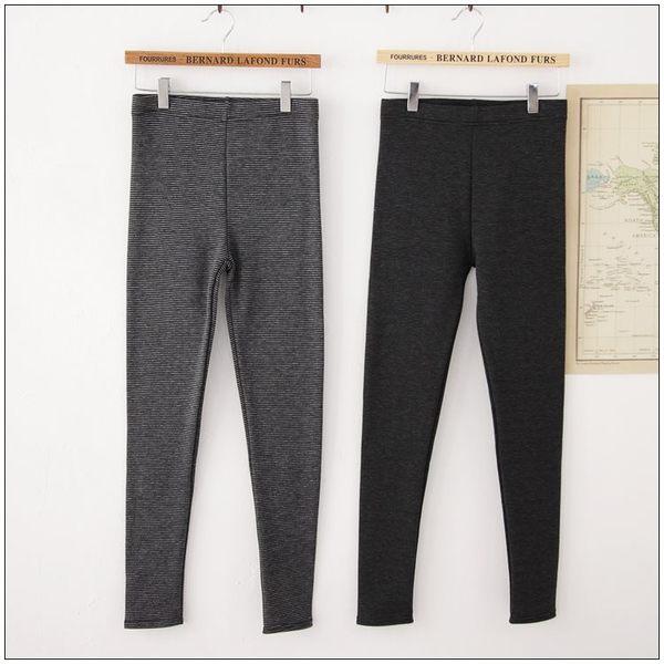 梅梅露*【69010194】內搭褲。條紋刷毛百搭長褲