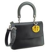 【奢華時尚】DIOR 黑色搭黃色牛皮翻蓋手提斜背兩用包(九成新)#25321