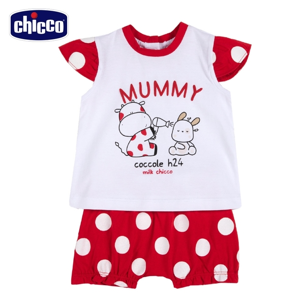 chicco- 小乳牛-大圓點短袖套裝