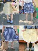 短裙夏季新款蕾絲邊兒童格子短裙女童半身裙寬鬆沙灘裙 【熱賣新品】