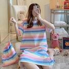 睡衣女韓版睡裙夏季短袖女士家居服可愛卡通印花學生大碼休閒外穿 魔法鞋櫃