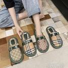 拖鞋 半拖鞋外穿包頭半拖鞋女平底可愛面包涼鞋超火百搭格子印花無后跟拖鞋 喵喵物語