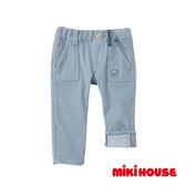 MIKI HOUSE 簡約反摺長褲 (灰藍)