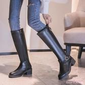 騎士靴女2019秋冬新款不過膝粗跟英倫風中筒靴顯瘦帥氣靴子潮 XN7857【Rose中大尺碼】