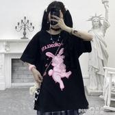 短袖T恤女2020新款夏季韓版ins復古卡通兔子印花寬鬆bf黑色上衣潮(pink Q 時尚女裝)