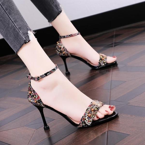 新款高跟鞋細跟涼鞋女性感流行一字扣貓跟小清新露趾女鞋 淇朵市集