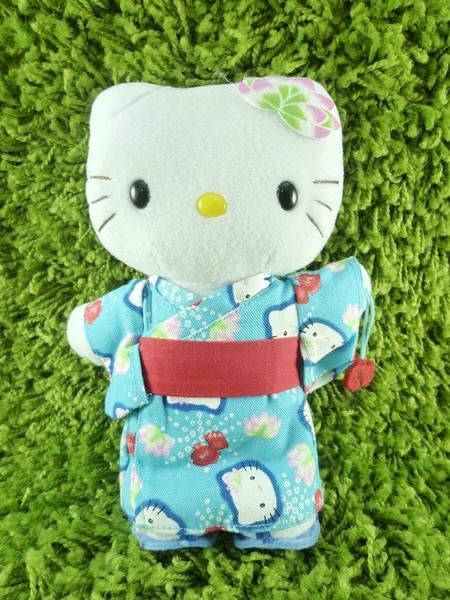 【震撼精品百貨】Hello Kitty 凱蒂貓~KITTY絨毛娃娃-和風服飾-藍色-站姿