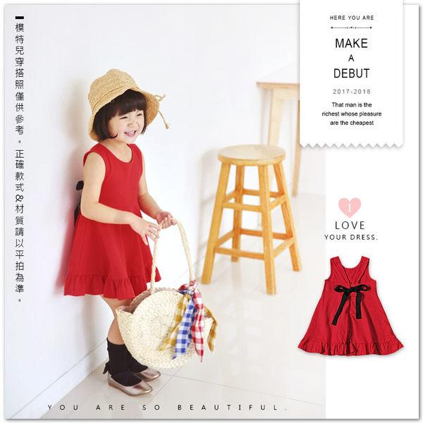 甜美背後蝴蝶結荷葉裙擺洋裝 連身裙 背心裙 女童 紅色 甜美 氣質 韓版 日系 哎北比童裝