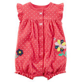 Carter's平行輸入童裝 女寶寶 蝴蝶袖前扣式兔裝 紅點點【CA118H893】