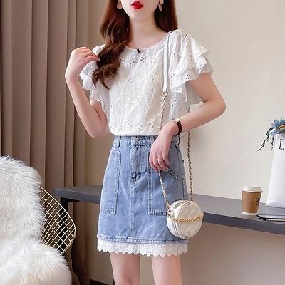 短袖套裝~7310#輕熟風可鹽可甜炸街蕾絲牛仔半裙套裝小個子顯高兩件套H311-E胖妞衣櫥
