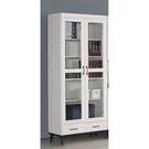 【森可家居】北歐刷白2.6尺雙門書櫃 8SB229-3 玻璃書櫥 收納 木紋質感 MIT 台灣製造
