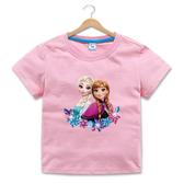 女Baby女童純棉T恤可愛愛紗和安那短袖T恤粉色夏季T恤休閒上衣 歐美品質 現貨