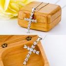 925純銀三層電鍍白金保護鋯石十字架項鍊