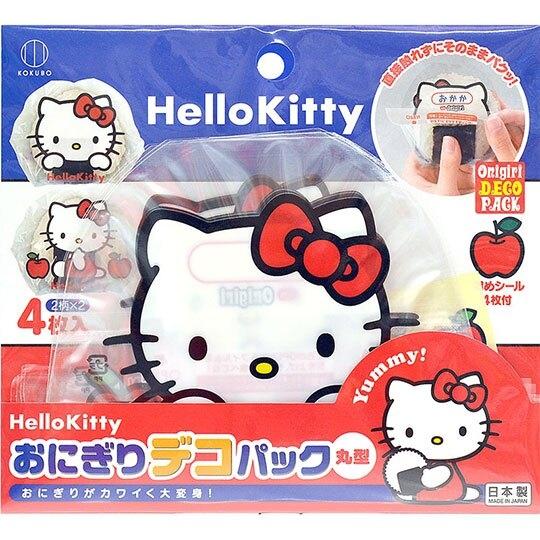 〔小禮堂〕Hello Kitty 日製飯糰包紙防油紙《4入.紅藍.大臉》17x16cm.食品包裝紙.銅板小物 4956810-80372