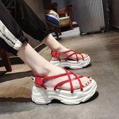 涼鞋2018新款女夏季ins潮學生運動休閒透明厚底韓版百搭網紅女鞋 【PINK Q】