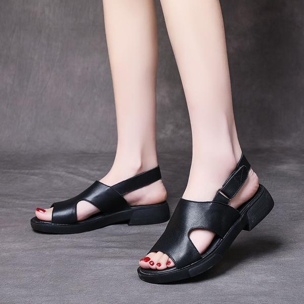 一字帶涼鞋 真皮手工涼鞋 魚嘴休閒涼鞋/2色-夢想家-標準碼-0412