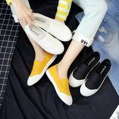 樂福鞋 春季黑色帆布鞋女學生韓版百搭平底懶人鞋女一腳蹬小白布鞋 city精品