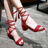 流蘇綁帶涼鞋女新款綁腿涼鞋粗跟中跟繫帶學生女鞋百搭 晴天時尚館