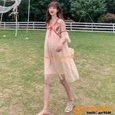 洋裝連身裙孕婦裝夏裝連身裙撞色高腰很仙的仙女裙百褶裙燈籠袖漢服【小桃子】