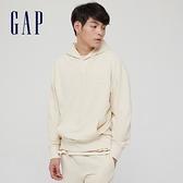 Gap男女同款 碳素軟磨系列法式圈織 簡約風連帽休閒上衣 704838-米色