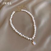 天然珍珠項鍊女晶石個性吊墜ins冷淡風鎖骨頸鍊時尚氣質百搭飾品 韓國時尚週