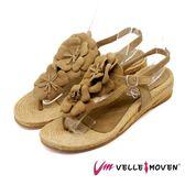 VelleMoven 小花朵朵草編涼鞋 歐洲進口 _棕色