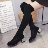2018春季新款彈力絲襪靴女百搭黑色外穿單靴粗跟水鉆低跟過膝