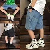 男童牛仔短褲 新款男童牛仔短褲夏季兒童中褲正韓中大童五分褲男孩七分褲寬鬆潮-Ballet朵朵