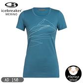 【Icebreaker 女 Tech Lite U領短袖上衣AD150高峰突起《藍》】104998/快乾機能服/排汗衫/羊毛