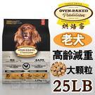 PetLand寵物樂園《加拿大 Oven-Baked烘焙客》非吃不可 - 老犬 & 減肥犬配方(大顆粒)25磅 / 狗飼料