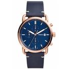 FOSSIL RUNWAY簡約三眼時尚皮革腕錶-藍x44mm FS5404