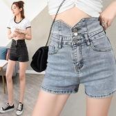 短褲 夏季新款淺藍色高腰牛仔短褲女外穿百搭闊腿薄款顯瘦a字熱褲 街頭