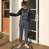 夏季韓版新款網紅減齡復古牛仔褲女寬鬆休閑百搭直筒背帶褲長褲子