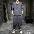 夏季中國風亞麻套裝男士短袖t恤休閒寬鬆古風大碼棉麻漢服T恤唐裝 3C優購