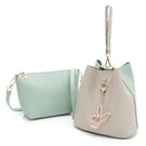 PLAYBOY- 手提包(可做斜背包使用) 拼接子母包系列 -綠色