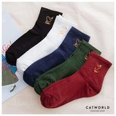 Catworld 愛心燙金刺繡棉質長襪【18900283】‧F*特價