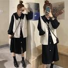 春秋季新款韓版學生馬甲洋氣顯瘦兩件套裝減齡大碼胖mm洋裝女裝 設計師