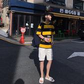 夏季新款復古 黃色寬條紋寬鬆tee情侶圓領短袖T恤男 艾尚旗艦店