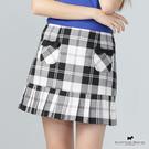 雙口袋X下擺拼接百摺造型設計短裙【AE2104】