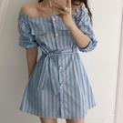 方領連身裙 2020夏季新款韓版中長款氣質裙子女法式復古方領豎條紋收腰連衣裙 薇薇
