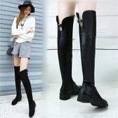 秋冬新款加絨長靴女平底側拉鏈大碼粗跟女鞋過膝長筒靴 喵可可