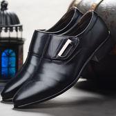 男皮鞋 正裝皮鞋 皮鞋男新款男士商務正裝尖頭皮鞋百搭休閒懶人鞋商務男鞋子《印象精品》q473