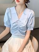 娃娃領上衣 短袖襯衫女設計感小眾2021年夏季新款復古法式洋氣娃娃領雪紡上衣 小天使