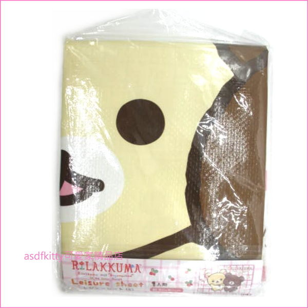 asdfkitty可愛家☆日本san-x拉拉熊粉白格野餐墊/沙灘墊-60*90公分-防水材質-日本正版商品