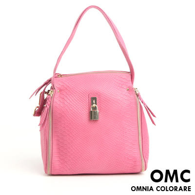 OMC - 繽紛系全牛皮鎖頭氣質2用包 ─  氣質桃