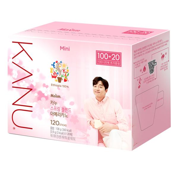 韓國 MAXIM麥心 KANU 美式淺焙咖啡超值增量版 (0.9g×120入/盒) 孔劉咖啡 櫻花咖啡