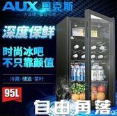 奧克斯冰吧單門小冰箱家用小型客廳玻璃門飲料保鮮茶葉冷藏CY  自由角落